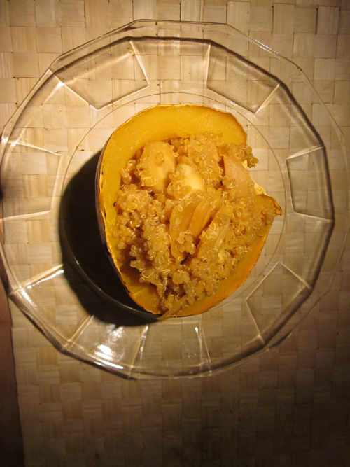Acorn squash with quinoa and root veggies