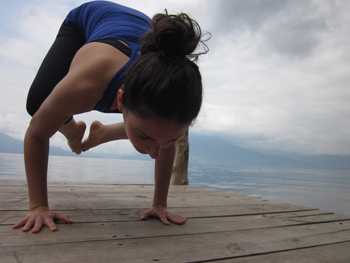 Crow pose (Bakasan) on the dock