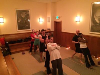 Trust fall partner yoga