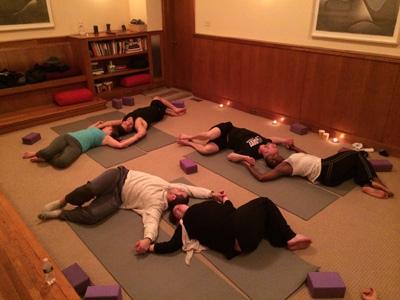 Valentines partner yoga supine twist