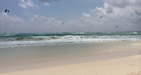 Mexican vacation - those are kite surfers in the background!